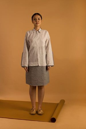 Wrap-over shirt style dress in Handwoven khadi fabric with space dyed yarn.