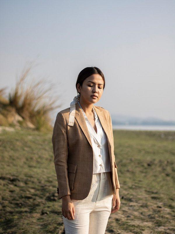 Tea dyed Eri Silk Peak collar SB Jacket