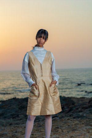 "Toss muga silk ""V"" Neck dress with patch pocket detail."