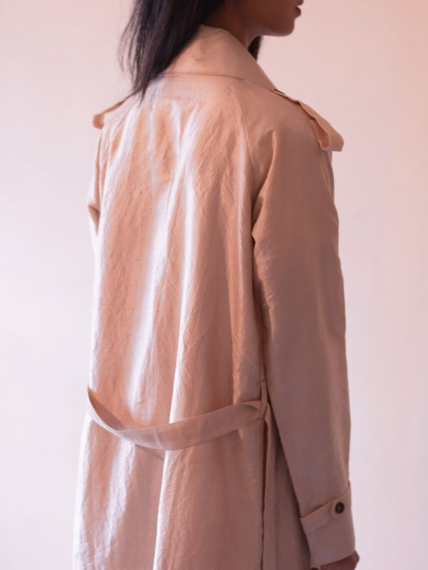 Tea Dyed Handwoven Mulberry Silk Trench Coat